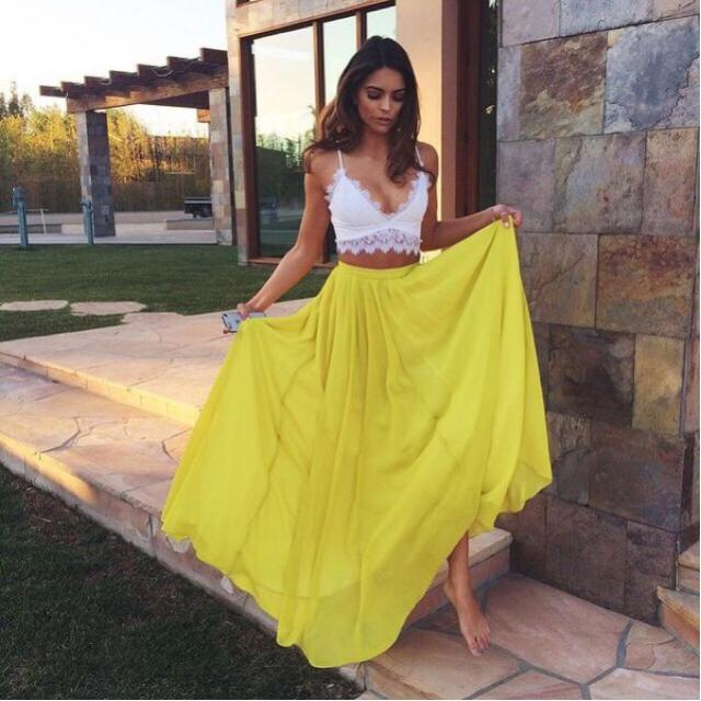 So fresh bright combination for summer! I love it. You can get this look on Zaful. #fashion #skirt # summer