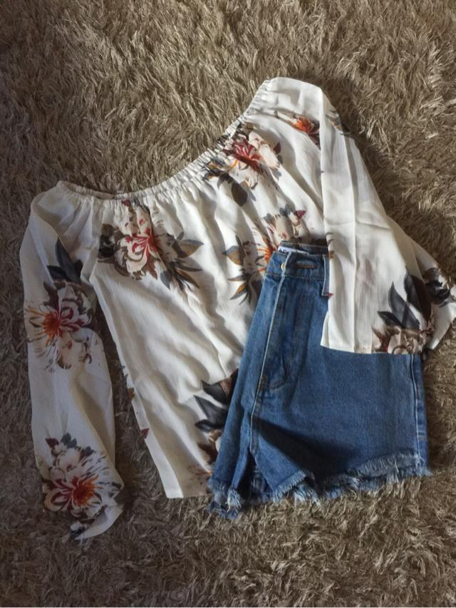 My shorts and flower printed blouse just arrived