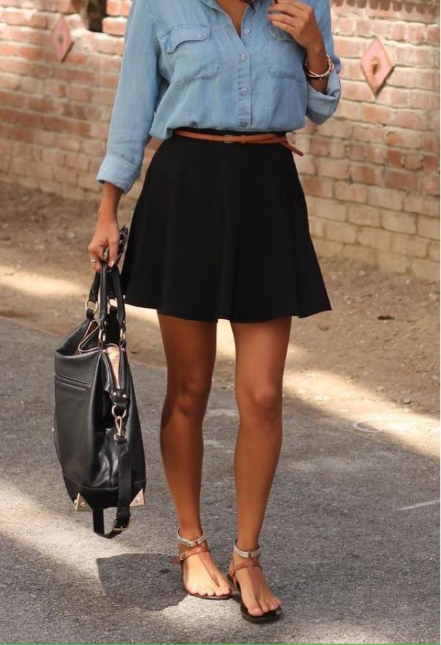 Go for classic glam by pairing a black skater skirt with a denim shirt. How do you wear skater skirts?