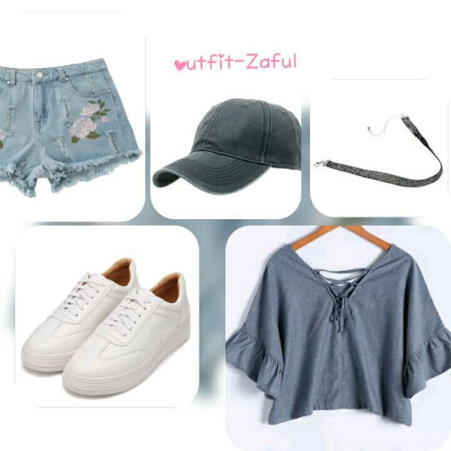 #zaful #outfit #lookbook #3anniv #fashion #smile #beautiful #sport #casual #grey #love #short #hat #followme #like4like