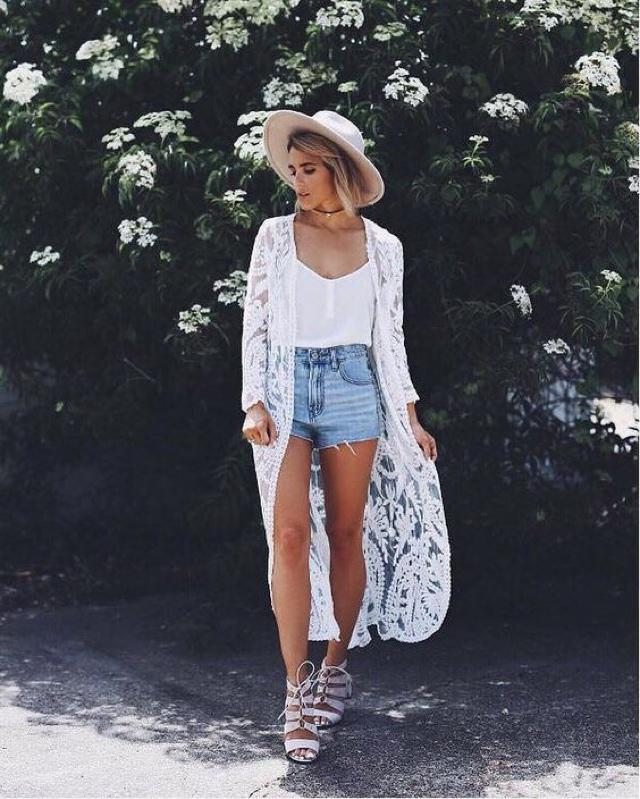 Long kimono is super trendy and perfect for summer...would you wear it? #summer #kimono #loveselfie #summeroutfit