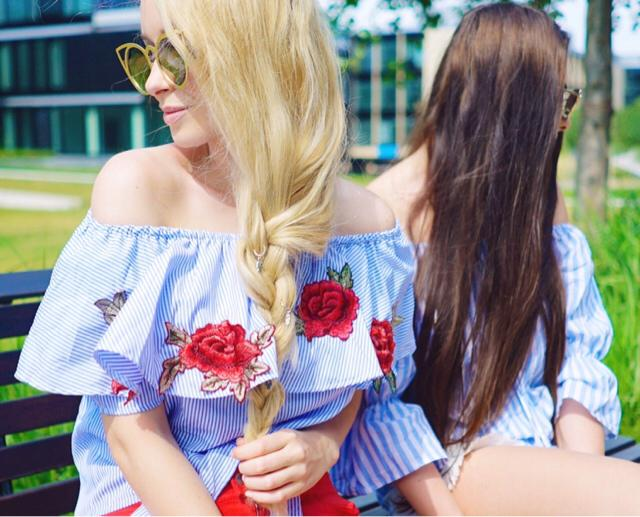 #offshoulder #embroidery #roses #flowers #blouse #stripes #sunglasses #longhair #blonde #brunette #accessories
