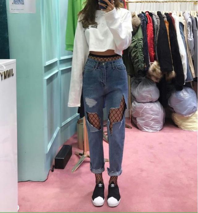Outfit of the day, what do you think? Is still trend to mix fishnet with jeans?