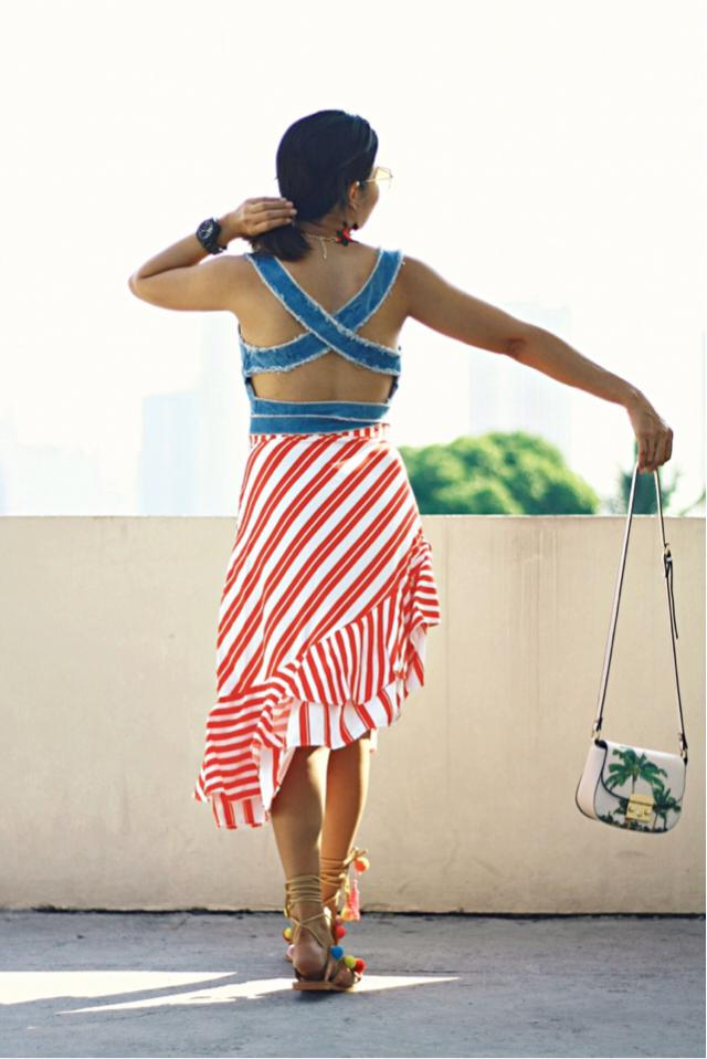 I ordered this two-tone asymmetrical mermaid striped skirt because of its design and color. I have few styles in mind