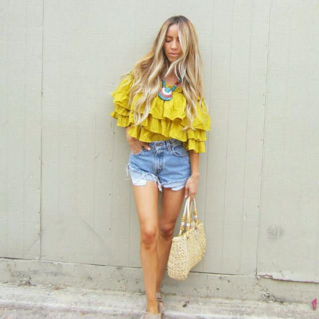 ruffled tops and vintage high waisted shorts!