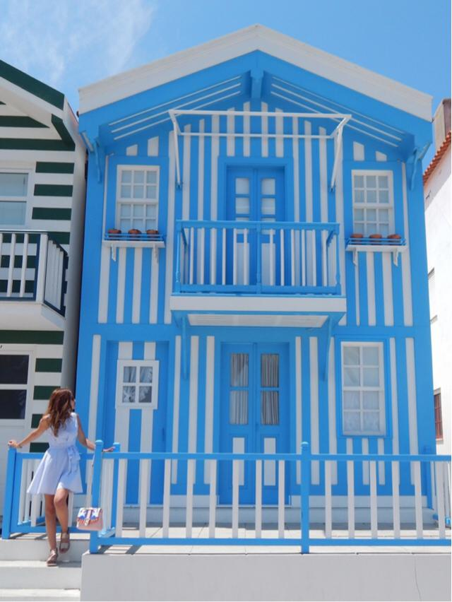 With my striped Zaful blue dress at the blue beach house! This is an authentic July Blue!!! ❤️ Please like and comment …